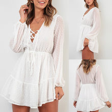 2019 vetement femme vrouwen vestido zomerjurk Chiffion Off-Shoulder Lange Mouwen Mini Jurk Prinses Jurk kleding elbise(China)