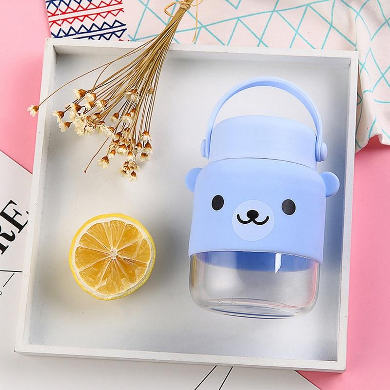 Fashion Cartoon Bear Water Bottle Creativity Portable Drinking Bottle Tea Drain Glass Water Bottles GL71