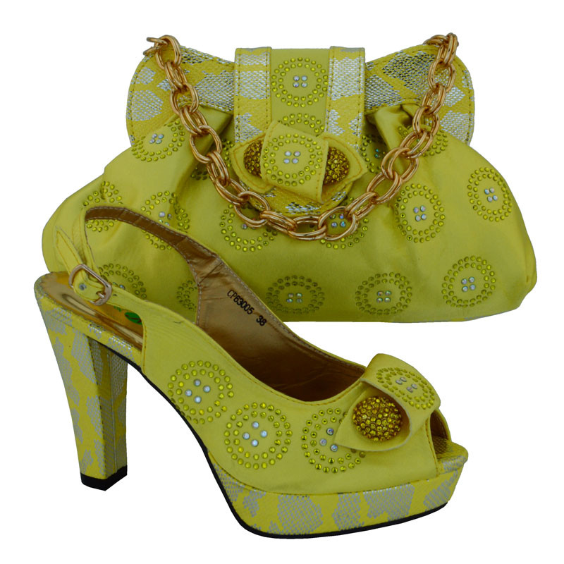 Italian Shoes With Matching Bags Rhinestones Pink High Quality African Shoes And Bags Set For