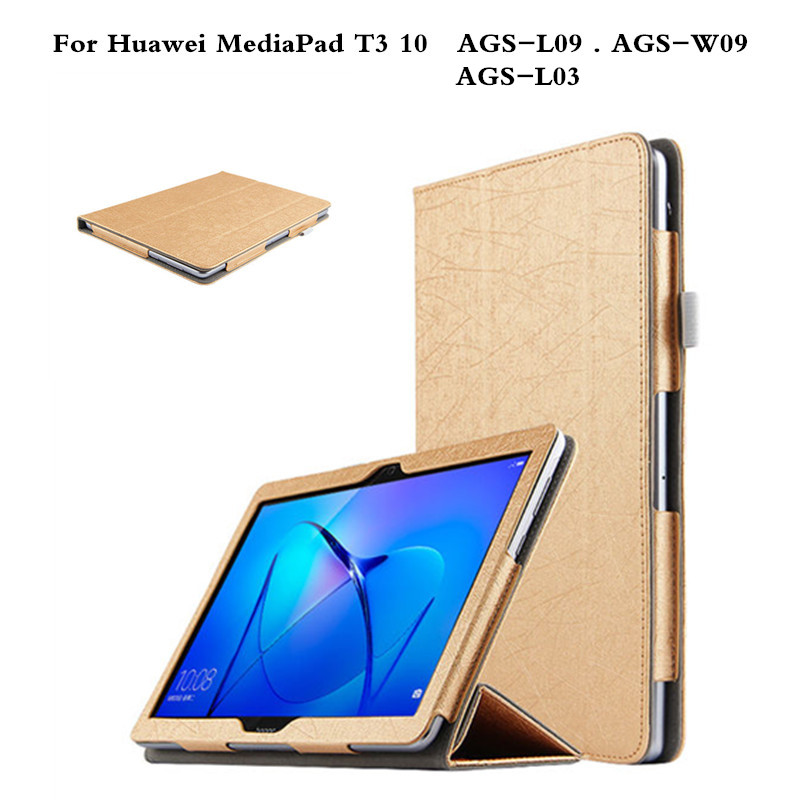 Case For Huawei MediaPad T3 10 Stand Slim PU Leather Cover For Huawei MediaPad T3 10 AGS-L03 AGS-L09 AGS-W09 9.6'' Tablet