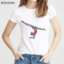 watercolor gymnastics girl printed t shirt women clothes 2019 funny vogue tshirt femme harajuku t-shirt