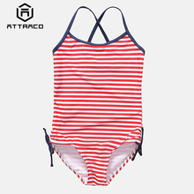 Attraco Girls One-Piece Swimsuits Stripe Printed Swimwear Kids Side Tied Bikini Cute Beach Wear Childrens One-piece Suits