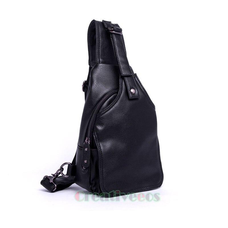 Men S High Grade PU Leather Travel Riding Motorcycle Bike Messenger Shoulder Sling Chest Bag