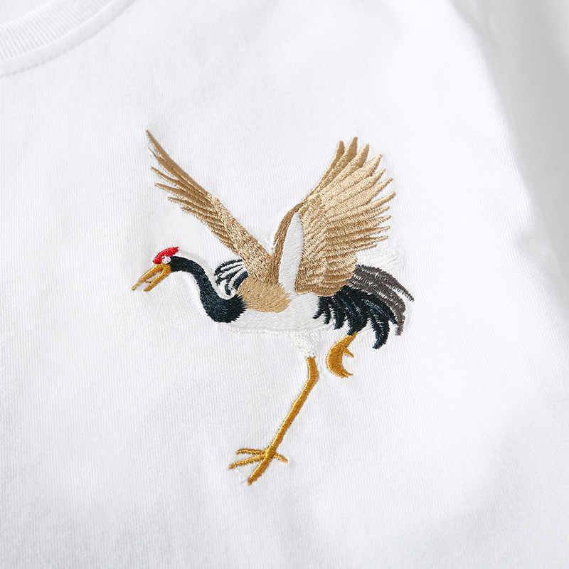 Jantour sommer Baumwolle t shirts männer Kran stickerei Kleidung Männlich Fit t shirt Mann Casual marke weiß T-shirts herren tops