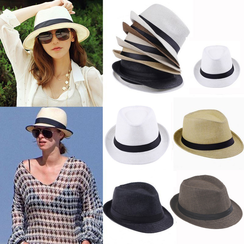 2015 Unisex Man Women Trilby Cap Mult color Summer Beach Sun Straw Panama  Hats-in Holidays Costumes from Novelty   Special Use on Aliexpress.com  1d68c9cda