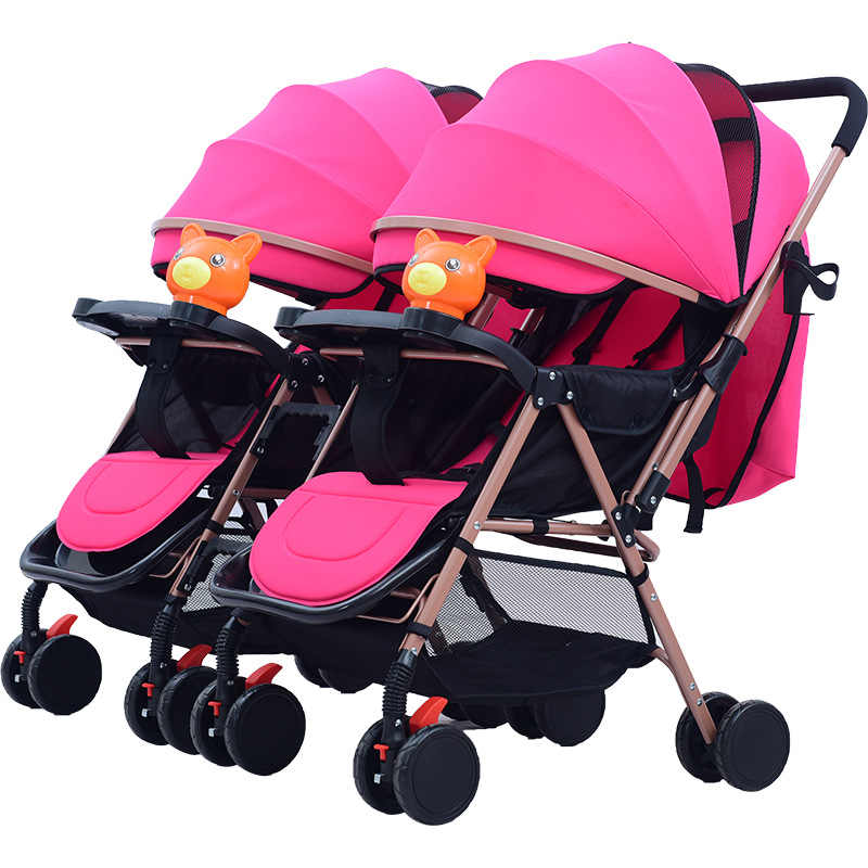 Twin Baby Stroller Detachable Two-way Double Light Can Sit Reclining Folding Multi-tuber Trolley Carts
