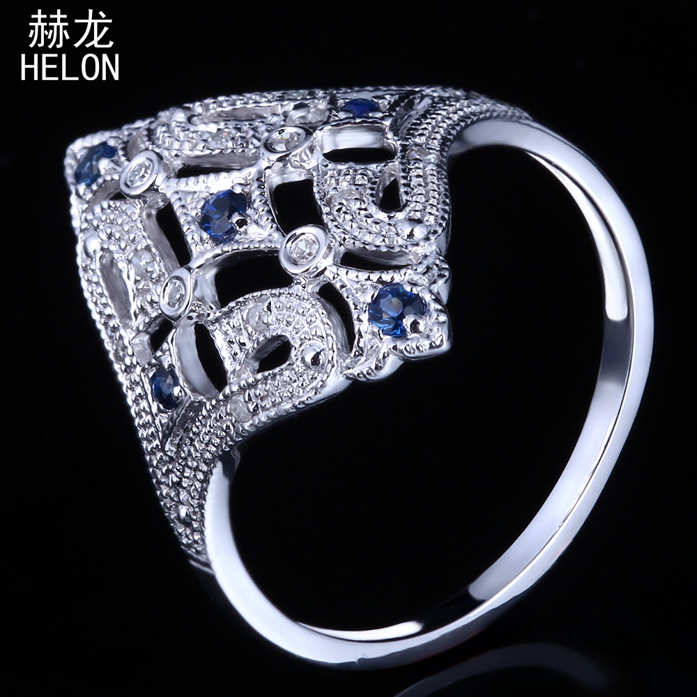 HELON Solid 10K White Gold Milgrain Natural Diamond & Sapphire Art Deco Jewelry Vintage & Antique Engagement Wedding Fine Ring
