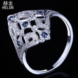 HELON Solid 10K białe złoto Milgrain naturalny diament i szafirowe Art Deco biżuteria Vintage i antyczne zaręczyny ślub piękny pierścionek