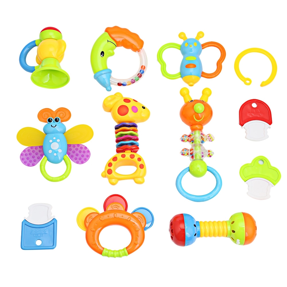 12pcs/Lots Baby Rattles Baby Toy 0-1 Year Old Newborn Baby Hand Rattles Combination With A Cute Jar Education&Learning Toys