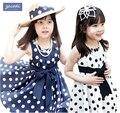 2017 Polka Dot Niñas Vestido de Verano, para 2 ~ 7y Bebé vestido de Las Muchachas del Punto Vestido de Los Niños Ropa de Sport Ropa de Los Niños, 2 Color Disponible