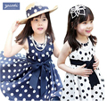 2017 Summer Polka Dot Girls Dress ,for 2~7y Baby Girls dress Point Dress Kids Wear Casual Children Clothing, 2 Color Available
