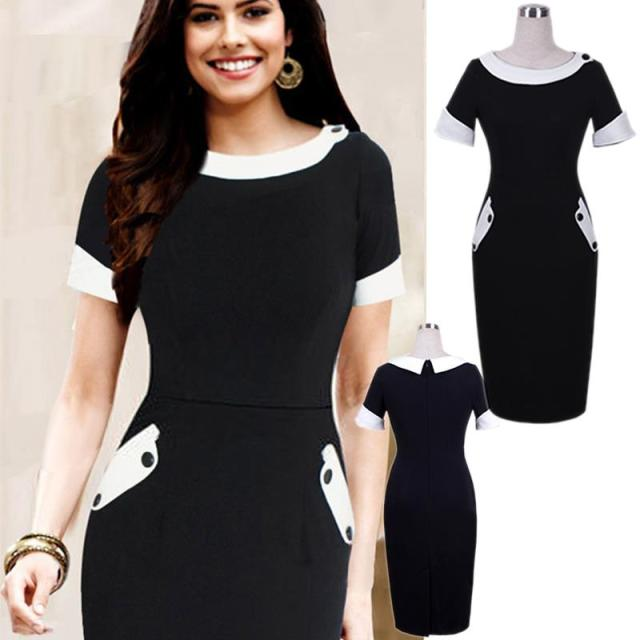 Elegant 2015 women black dress Short sleeves hip package knee-length Pencil Dresses white collar Office dress Work wear S- XXL
