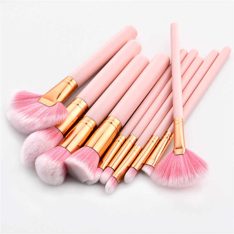10PCS Makeup Brushes Set Pink Handle Women Foundation Make up Brush Beauty Tools Kit for Lip Eye Liner maquiagem T10083