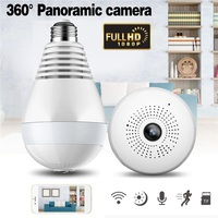 1080P 360 Degree Night Vision IP Camera Bulb Light FishEye Smart Home CCTV 3D VR Camera