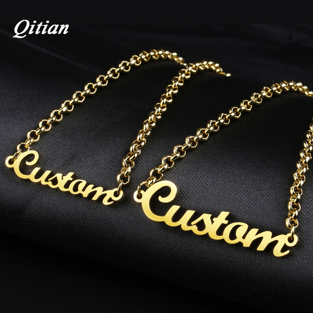 Personalized Name Bracelet Gold Color Customized Nameplate Bracelets For Stainless Steel Jewelry Max 8