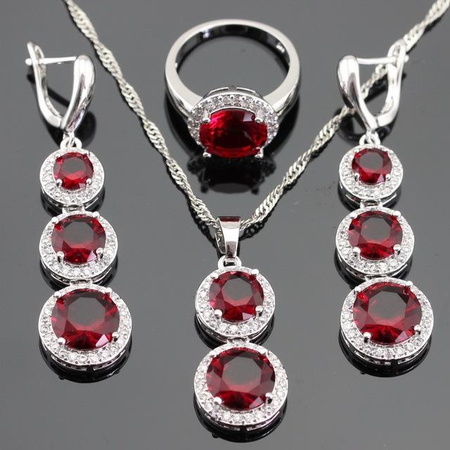 Redondo Rojo Creado Granate CZ Blanco Color Plata Sistemas de La Joyería para Las Mujeres Collar Colgante Pendientes de Gota Largos de Regalo Gratis caja