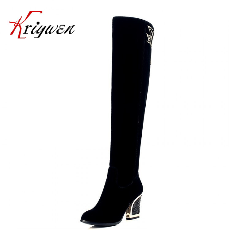 2015 Women's Spring/Autumn thick heels thigh Over the Knee Boots Sexy lady High Heel Boots Fashion Elegant toe Boots work Shoes 2016 tight high over knee high long lady patent leather transparent thick heels woman spring autumn zip botas black shoes j100