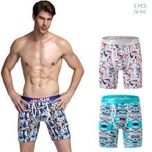 Hot Sale Combos 2017 New mens bamboo fiber print long boxer shorts u convex underwear breathable underpants for men