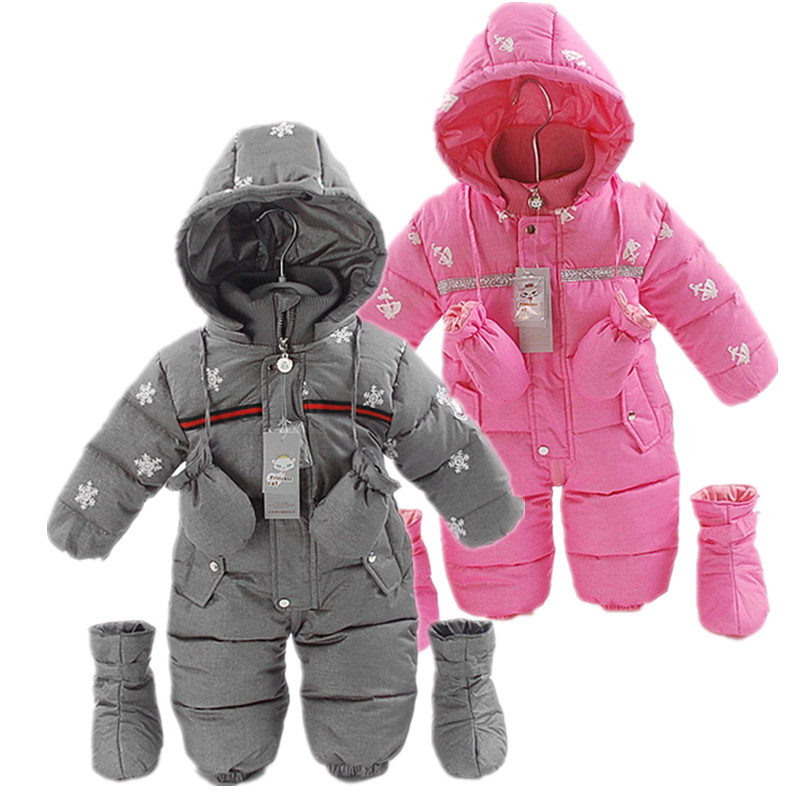 High Quality 90 Duck Down Baby Romper Baby Boy Winter Warm Snowsuit Infant Girl Snowflake Christmas