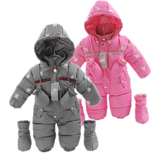 High Quality 90% Duck Down Baby Romper Baby Boy Winter Warm Snowsuit Infant Girl Snowflake Christmas Clothing Baby Snowsuit