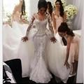Vestido de novia de Lujo Desmontable Tren Vestido de Boda Árabe 2017 Patrones Vestido De Noiva