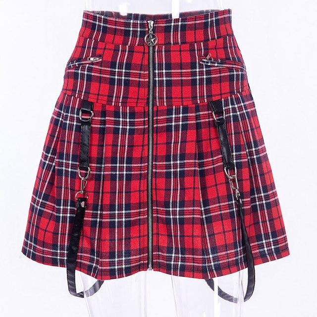 Red Plaid Punk Rock Gothic Skirt Women High Waist Strap Zipper