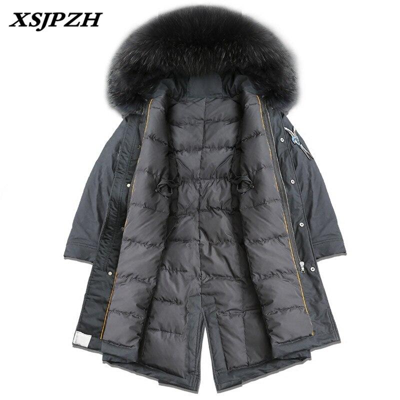 XSJPZH 2018 Новинка зимы Для женщин вниз пальто куртки Вышивка длинный толстый внешний с капюшоном большой меховой воротник большой Размеры пал