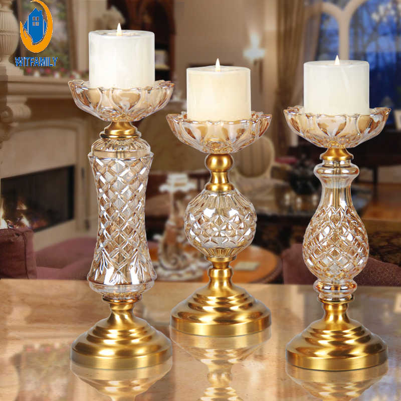 Table Artical Candle Holders Dinner  Romantic Wedding Decor Candlesticks Petal-type candle holder Carved Alloy base Furnishing