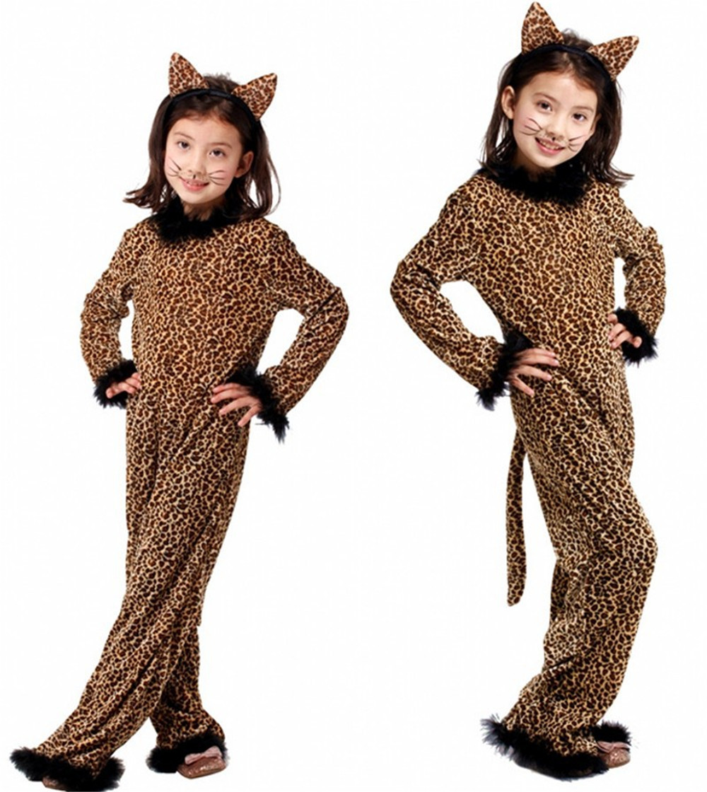 Rompers Jumpsuits Costume-Ball Halloween Leopard for Cosplay Animal Kid Children's
