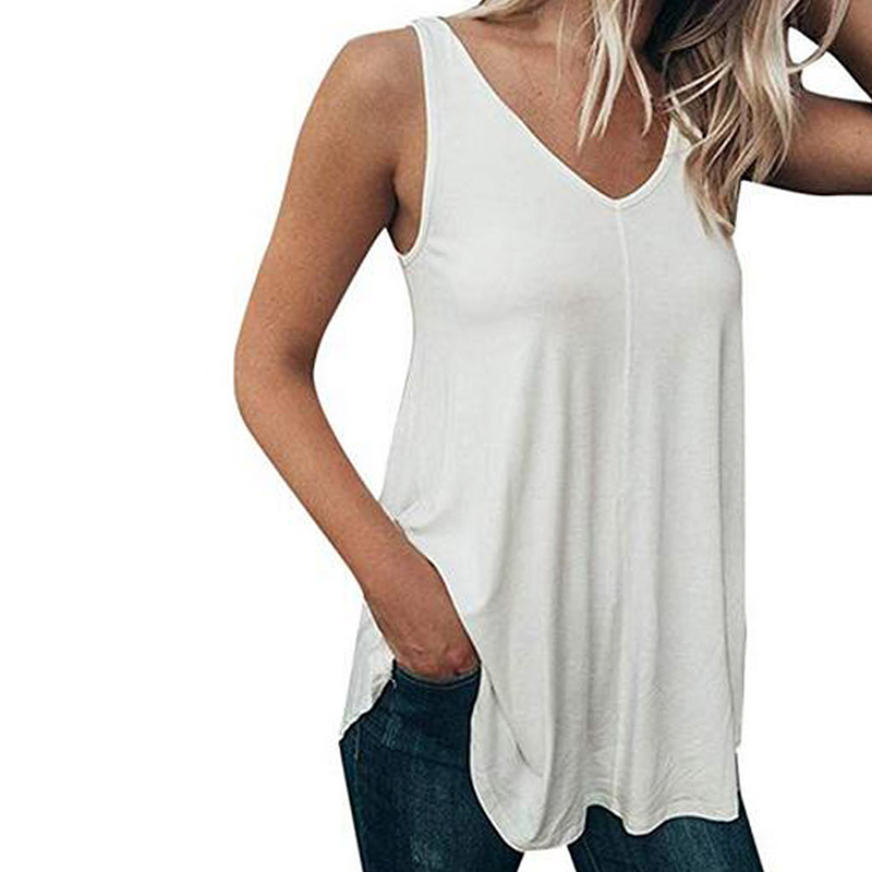 Women's Clothing Casual Sleeveless Shirt Women Blouses Solid V-neck Loose Vest Tops Fashion 2019 Summer Shirts Blusas Femme Sj2604m Shrink-Proof
