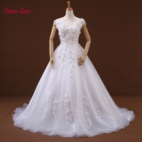 Amdml Embroidery Lace Net A Line Wedding Dresses 2017 Real Photo 3 D Flowers With Crystals