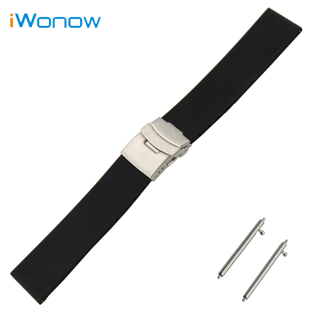 21mm 22mm quick release silicone rubber watchband universal watch band wrist strap stainless steel buckle belt bracelet black Silicone Rubber Watch Band 23mm 24mm Universal Watchband Stainless Steel Safety Buckle Strap Wrist Belt Bracelet + Spring Bar