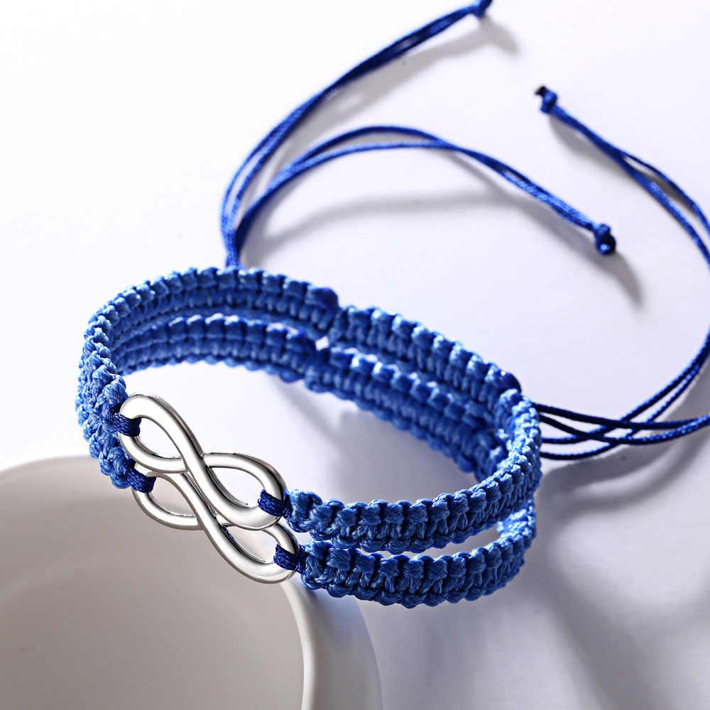 2 sztuk/zestaw ręcznie pleciony sznurek linowy bransoletka nieskończoność ręcznie makrama para bransoletka dla kobiet mężczyzna miłośników przyjaźń Hot prezent