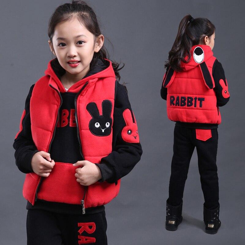 2018 Warm Winter Boys Girls Clothing Sets 3pcs/set Clothes Sets School Suit Kids Tracksuits Hooded Jakcets + Sweatshirts + Pants стоимость