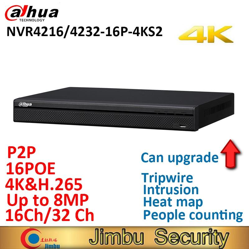 Dahua NVR 16PoE NVR4216-16P-4KS2 NVR4232-16P-4KS2 16CH 32CH Network Video Recorder 1U ports 4K &H.265 Lite Up to 8MP Resolution dahua nvr 4k nvr5416 16p 4ks2 nvr5432 16p 4ks2 psp poe video recorder 16poe ports 16ch 32ch h 265 h 264 people countiing ivs dvr