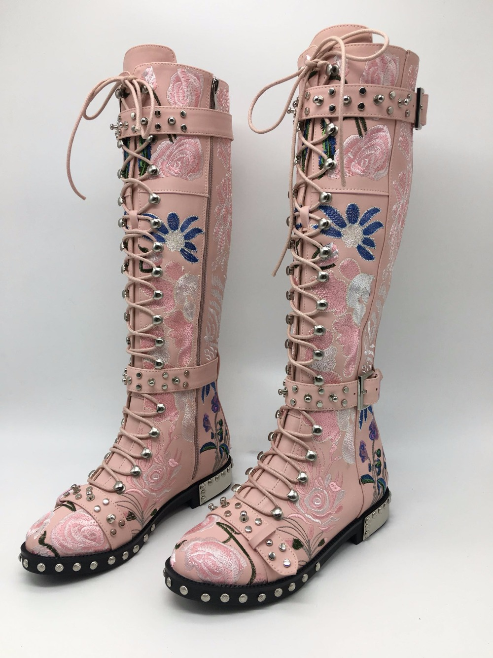 Sestito Woman Cool 3 Bands Side Zipper Round Toe Knight Boots With Rivets Female Embroidery Flower Print Casual Knee High Boots