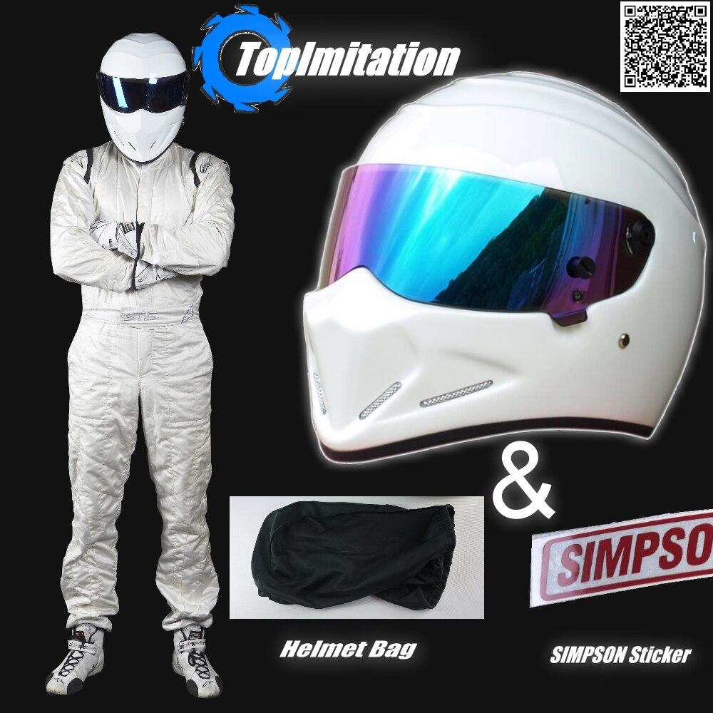 TopGear le casque Stig/moto moto tapis casque de course/couleur blanche avec casque de visière coloré + autocollant SIMPSON