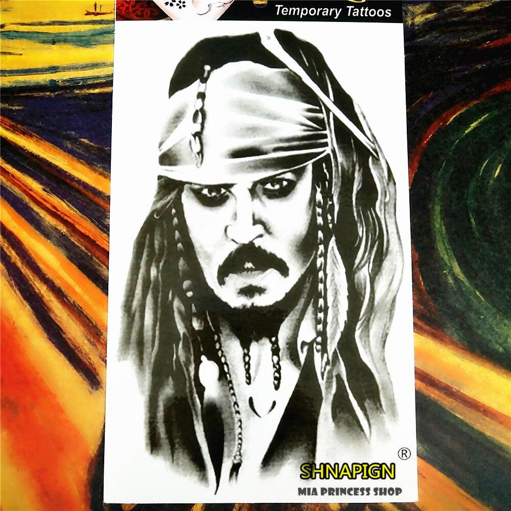 SHNAPIGN Rey Pirata Tatuaje Temporal Body Art, 12*20 cm Flash Del Tatuaje Pegati