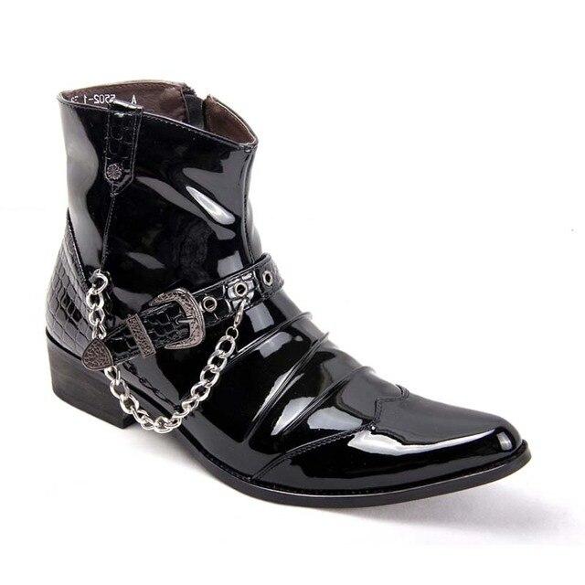 Homens da Cadeia de Couro Botas Dos Homens apontou Patente Brilhante Sapatos Da Moda Masculina de Metal Fivela Bota Moto Tornozelo Zapatillas Hombre Preto