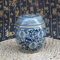 Chinese antique porcelain and blue and white longevity jar