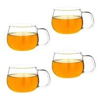 10 Oz 4PCS Heat Resistant Borosilicate Glass Tea Espresso Cup Coffee Drinkware Glassware Set With Handle