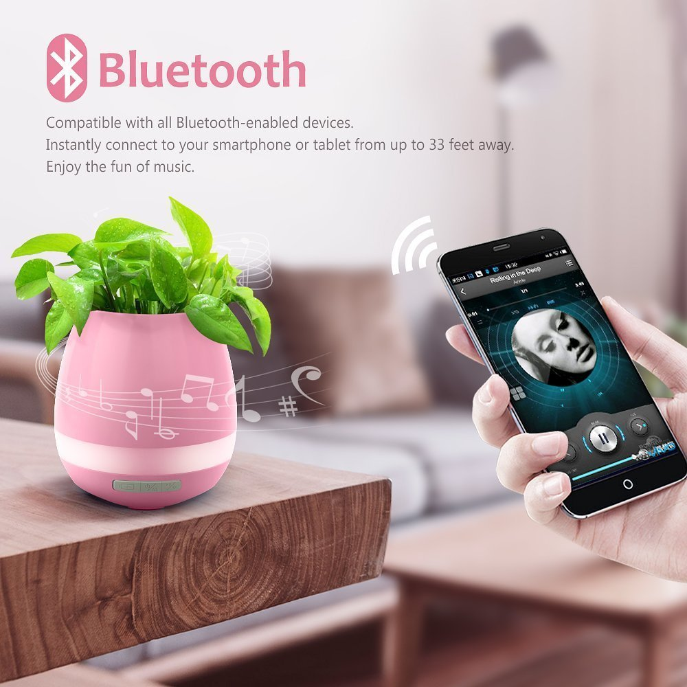 Image 5 - Music Flower Pot Speaker Smart Wireless Finger Bluetooth Switch Office Living Room Decoration Home Speaker Desk Touch Night LED-in Portable Speakers from Consumer Electronics