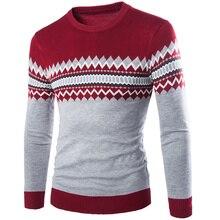 Бесплатные корабль 2017 зима новый повседневная мужчины argyle шаблон вязаный свитер пуловер о-образным вырезом мода согреться мужская одежда M-XXL