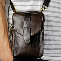 Men Crazy Horse Genuine Leather High Quality Retro Crossbody Bag Belt Waist Fanny Pack Phone Cigarette Case Bag wallet