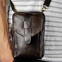 Men Crazy Horse Genuine Leather High Quality Retro Crossbody Bag Belt Waist Fanny Pack Phone Cigarette Case Bag wallet
