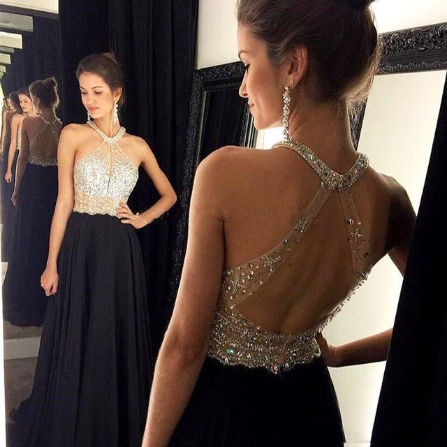 6c2d45b397aa Sexy Long Black Open Back Prom Dresses Sparkly Crystals Beading Chiffon  Halter Floor Length Backless Evening Dress Formal Gowns