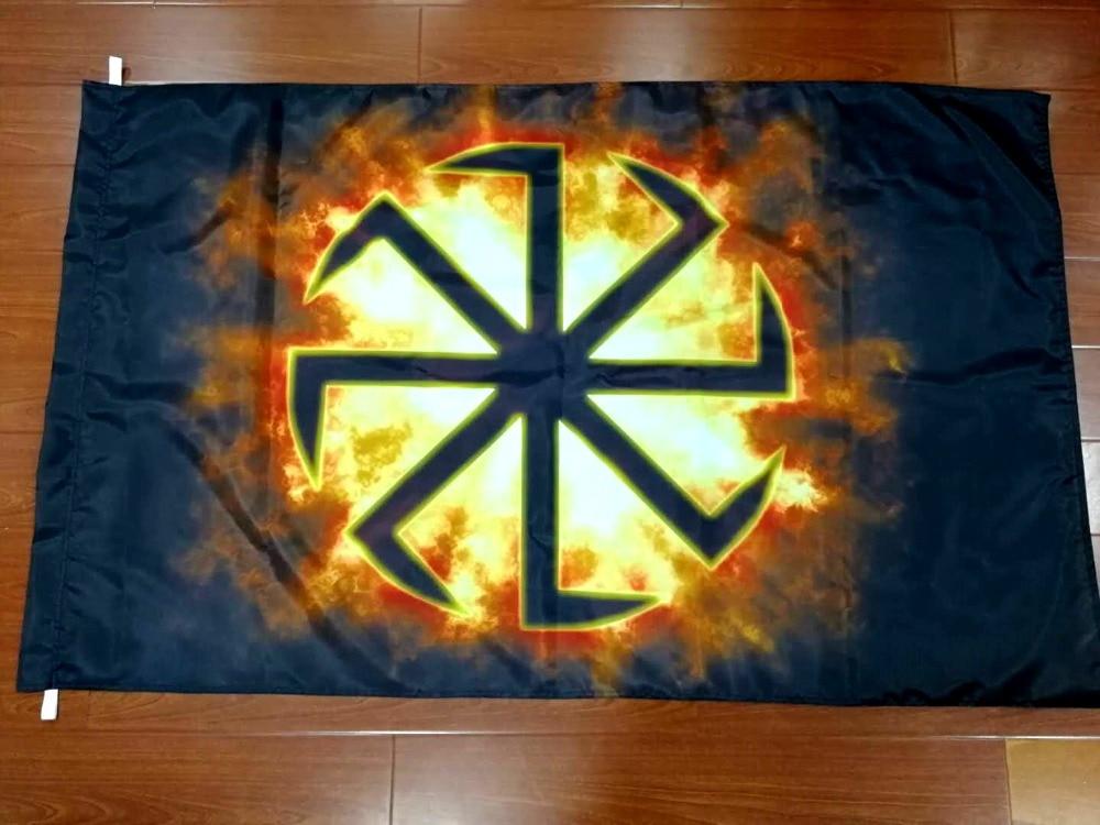 Xiangying 90*135cm russian wheel Slavic Kolovrat Runes Eight Ray Flag