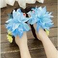 2015 nuevas flores femeninas por mollete inferior grueso Flip Flop zapatillas de Playa sandalias de tacón alto verano libre