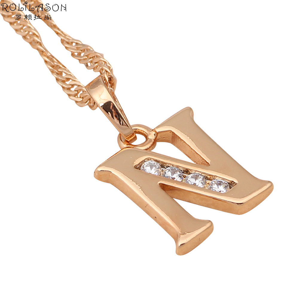 Glittering Letter 26 design N style designer wholesale gold tone crystal necklaces & pendants fashion jewelry