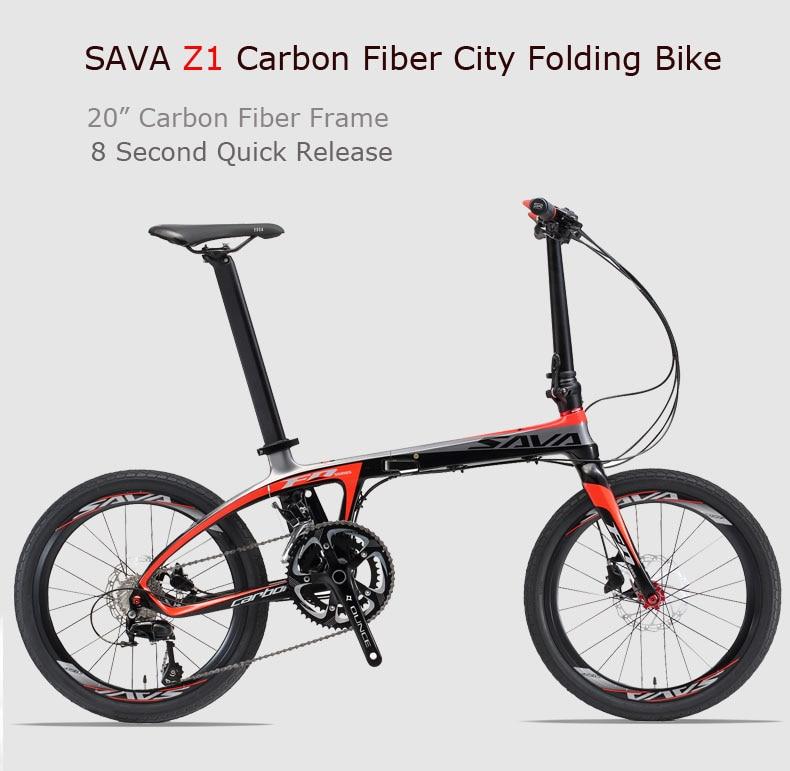 SAVA Folding Bike 20 inch Folding bicycle Foldable Carbon Folding Bike 20 inch with SHIMANO 105 22 Speed Mini Compact City Bike